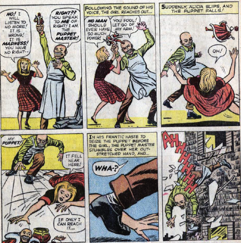 The Comics Code Authority wouldn't let you show puppets falling on their keys back then.